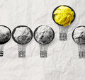 Hand Drawn Air Balloons With Crumpled Paper Ball Stock Photography - 39458952