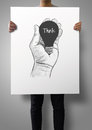 Man Showing Poster Of Hand Drawn Light Bulb Royalty Free Stock Images - 39460189