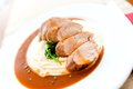 Mashed Potatoes With Grilled Pork As Main Dish Stock Image - 39463871
