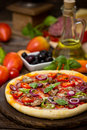 Pizza With Ham, Mushrooms And Cheese Stock Photography - 39471162