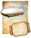 Airship Flying Banner For Text Over Old Paper, Vintage Graphic. Royalty Free Stock Photo - 39485705