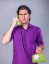 Man With Telephone Royalty Free Stock Photo - 39485985