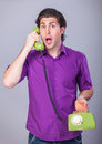 Man With Telephone Royalty Free Stock Image - 39485986