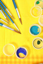 Set Of New Brushes On A Yellow Napkin Royalty Free Stock Photo - 3952305