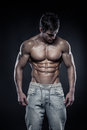 Strong Athletic Man Fitness Model Torso Showing Six Pack Abs. Royalty Free Stock Photos - 39530928