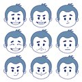 Set Of Nine Facial Expressions Royalty Free Stock Photo - 39555955