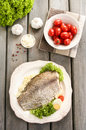 Fried Cod On White Plate With Fresh Vegetables Royalty Free Stock Photography - 39573057