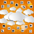 Abstract Cloud Computing With Media Icons On A Striped Orange Ba Stock Photography - 39580522