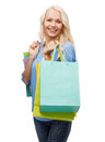 Smiling Woman With Many Shopping Bags Stock Photo - 39590270