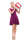 Wondering Smiling Girl With Present Box Royalty Free Stock Photo - 39593345