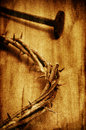 The Jesus Christ Crown Of Thorns On The Holy Cross, With A Retro Stock Photography - 39603362