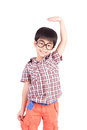 Asian Boy Growing Tall And Measuring Himself Stock Photography - 39609672