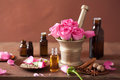 Spa Aromatherapy Set With Rose Flowers Mortar Spices Royalty Free Stock Photography - 39618247