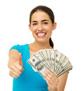 Woman Holding Us Paper Currency While Gesturing Thumbs Up Stock Images - 39621204