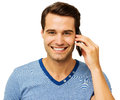 Young Man Answering Smart Phone Royalty Free Stock Photo - 39621285