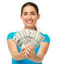 Happy Woman Holding Fanned Us Paper Currency Royalty Free Stock Photography - 39621457