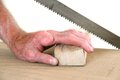 Joiner Without One Finger Sawing A Piece Of Wood Stock Images - 39634474