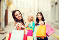 Girls With Shopping Bags In City Stock Images - 39635844