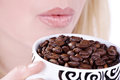 Woman Drinking From Coffee Cup Beans Stock Image - 39661621