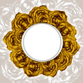 Card With Wreath Frame Of Drawn Yellow Roses Stock Image - 39691621