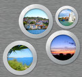 Metal Porthole With Travel Photos Royalty Free Stock Images - 39693409