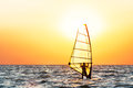 Windsurfing At Sunset Stock Photography - 39706322