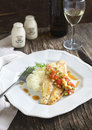 Roasted Seabass Fillets With Sauce Las Vegas Salsa And Mashed Potato Royalty Free Stock Photography - 39706477
