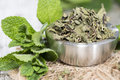Dried Mint In A Bowl Royalty Free Stock Images - 39706719