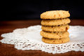 Stacked Apple Chip Cookies On White Napkin Stock Photo - 39720730