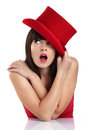 Funny Woman With Red Hat Stock Photos - 39731233
