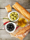 Italian Food Appetizer Of Olives, Bread And Spices Stock Image - 39749321