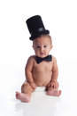 Baby Boy Wearing A Top Hat And Bow Tie Stock Image - 39757591