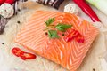 Raw Fillets Of Red Fish, Salmon, Cooking Healthy Diet Dishes Stock Image - 39772841