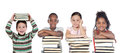 Four Funny Children With Many Books Stock Photos - 39785183