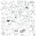 Cute Monsters And Freaks. Black-white. Stock Photography - 39785772