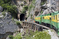 Old-time Green And Yellow Train Going Into A Tunnel Stock Photo - 39794050