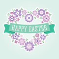 Easter Card Floral Heart Purple Royalty Free Stock Photo - 39796385