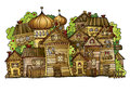 Cartoon Vector Russian Old Wooden Village Royalty Free Stock Image - 39802556