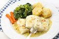 Roasted Fresh Cod Fillet With Cabbage And Potatoes Stock Image - 39806331