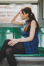 Pretty Girl Sitting Inside Subway Train Royalty Free Stock Image - 39810106