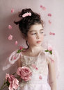 Girl With Rose Royalty Free Stock Photos - 39812848