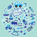 Toys Icons For Baby Boy In Circle,Blue Colors Stock Images - 39833034