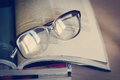 Glasses For Reading On A Stack Of Magazines, In Soft Focus Stock Images - 39856134