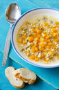 Meat Soup With Wheat And Pumpkin Stock Photography - 39904892