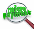 Micropayments Word Magnifying Glass Searching Tiny Money Amount Stock Photo - 39908600