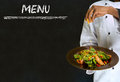 Chef With Healthy Salad Food On Chalk Blackboard M Royalty Free Stock Images - 39911289