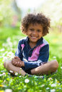 Cute African American Little Boy Playing Outdoor Royalty Free Stock Photo - 39919305