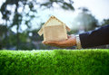 Hand Of Business Man And Wood House Model On Beautiful Green Gra Stock Image - 39924301