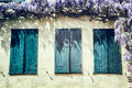 Old Windows With Blue Shutters. Royalty Free Stock Image - 39928106