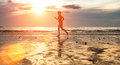 Silhouette Of A Young Woman Jogger At Sunset On The Seashore. Sport. Royalty Free Stock Image - 39931616